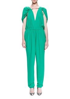 Lanvin Chain-Threaded Gathered Jumpsuit