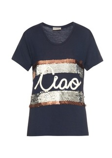 Lanvin Ciao-embellished jersey T-shirt