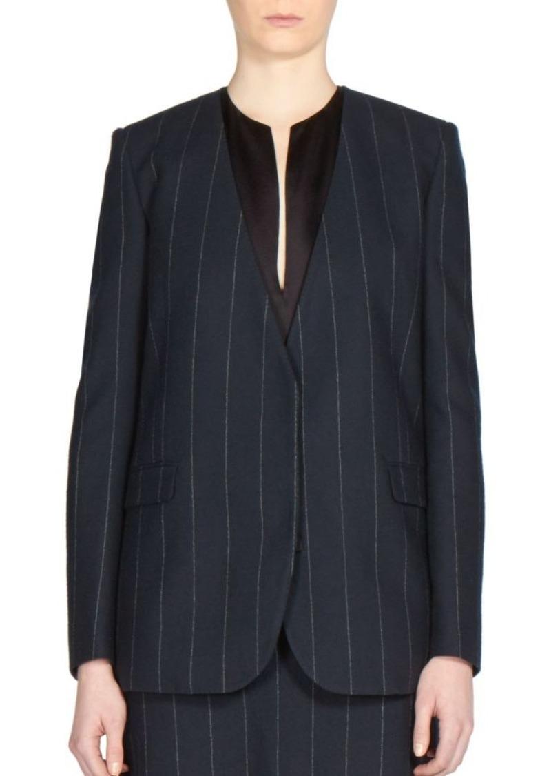 Lanvin Collarless Pinstripe Wool Jacket