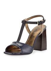 Lanvin Colorblock Leather T-Strap Sandal