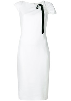 Lanvin contrast trim sheath dress - White