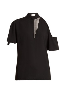 Lanvin Crystal-embellished asymmetric crepe blouse