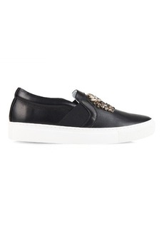 Lanvin Crystal-embellished leather trainers