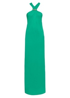 Lanvin Crystal-embellished stretch-crepe gown
