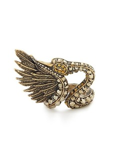 Lanvin Crystal-embellished swan ring