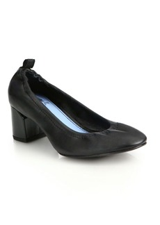 Lanvin Cube-Heel Leather Ballet Pumps