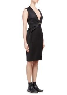 Lanvin Deep V-Neck Wool Dress