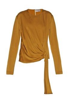 Lanvin Draped-front satin-crepe blouse