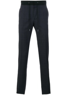 Lanvin drawstring waist checked trousers - Blue