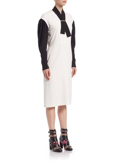 Lanvin Drop Sleeve Silk Blend Dress