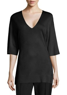Lanvin Elbow-Sleeve Knit V-neck Top