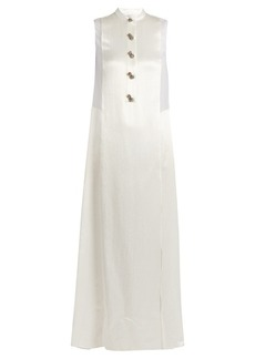 Lanvin Embellished-button sheer-panel satin gown
