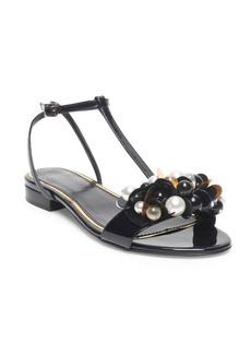 Lanvin Embellished Leather Flat Sandals