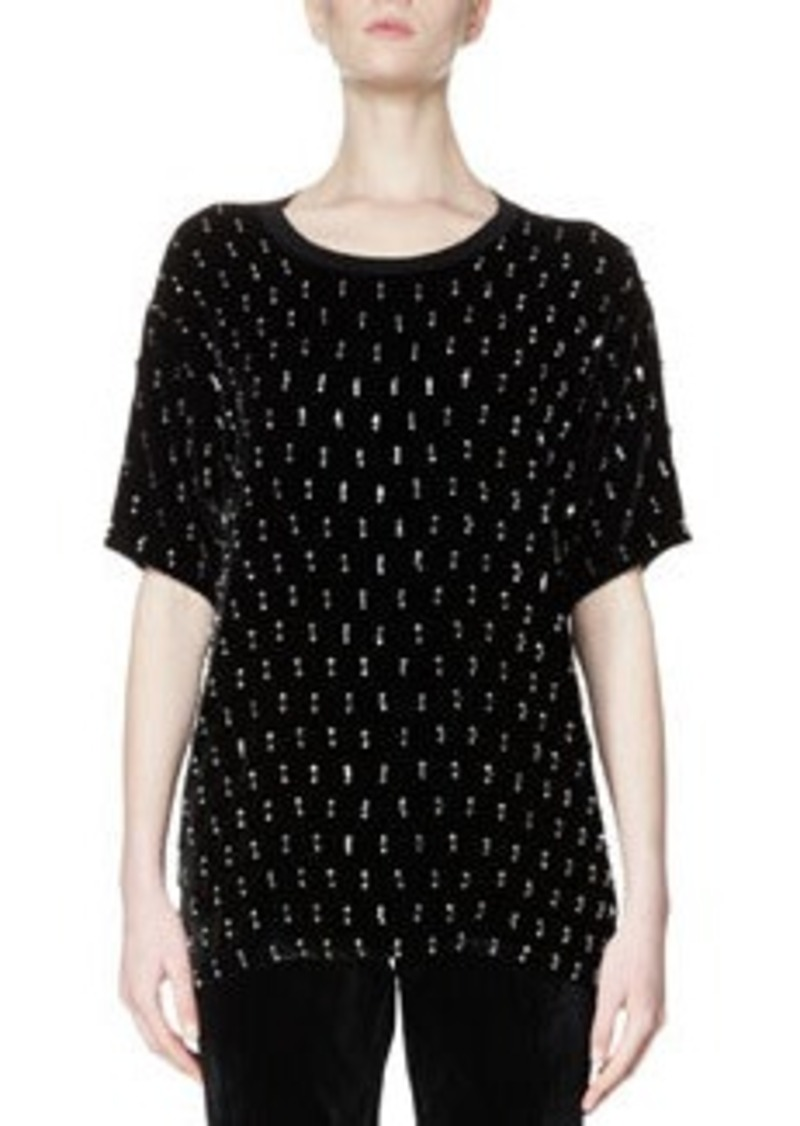 Lanvin Embellished Short-Sleeve Velvet Top