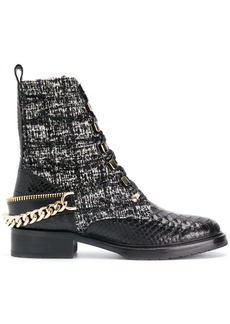Lanvin embellished tweed biker boots - Black