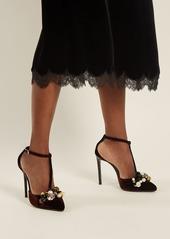 Lanvin Embellished velvet pumps