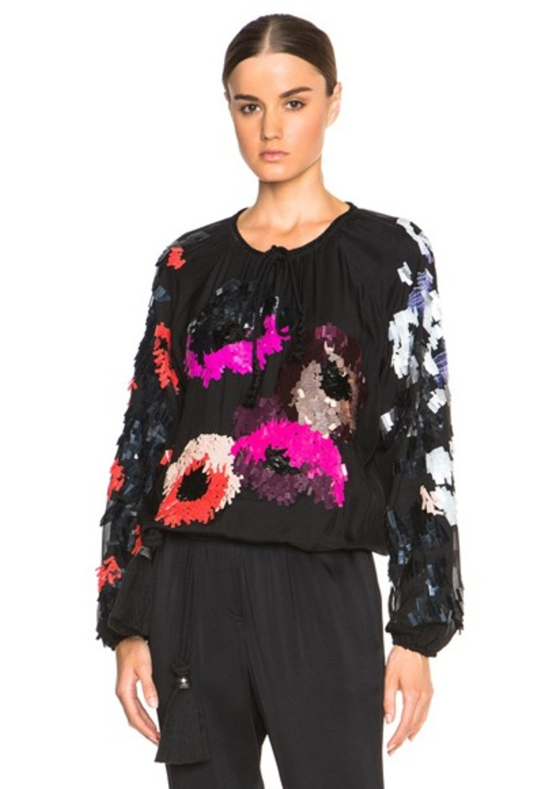 Lanvin Embroidered Jersey Blouse
