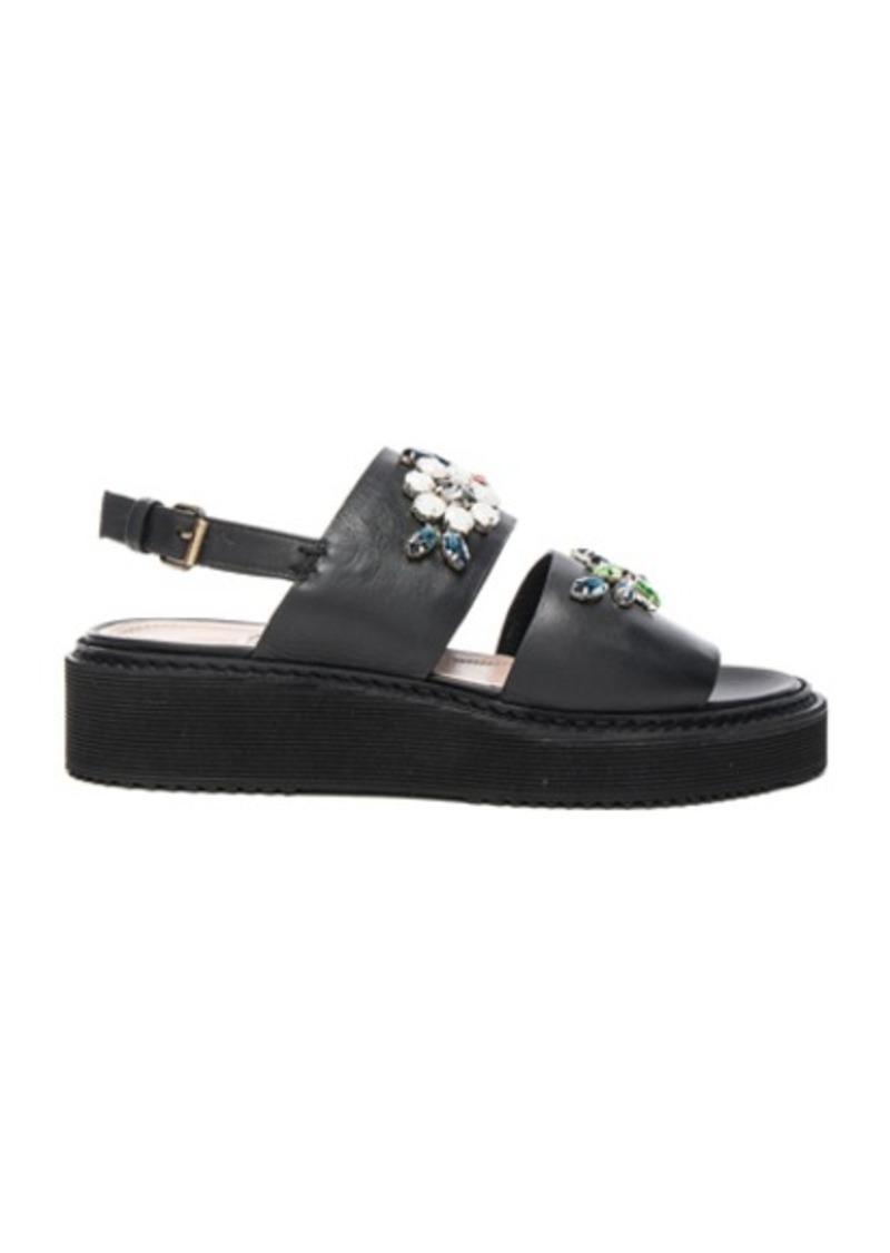 Lanvin Embroidered Leather Flat Sandals
