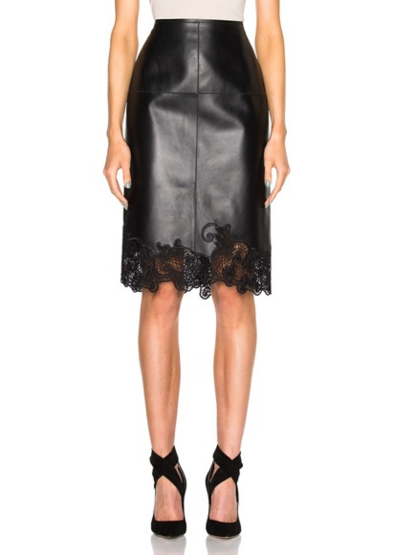 Lanvin Embroidered Leather Skirt