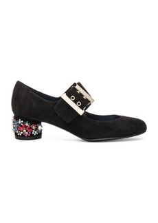 Lanvin Embroidered Suede Mary Jane Pumps
