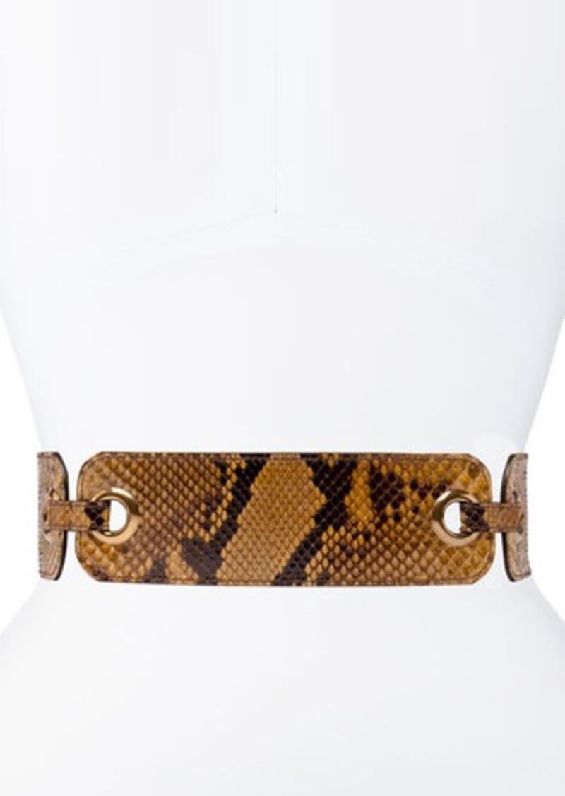 Lanvin Eyelet Belt in Beige Python