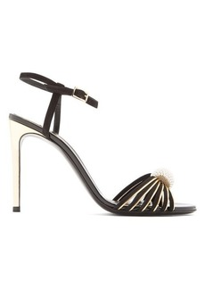 Lanvin Faux-pearl embellished suede sandals