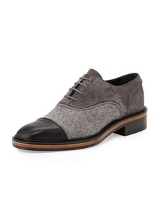 Lanvin Felt & Suede Lace-Up Oxford