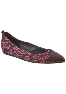 Lanvin Floral Embroidered Fabric Ballerina Flat