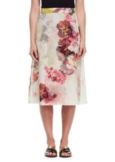 Lanvin Floral Silk A-Line Midi Skirt
