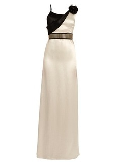 Lanvin Flower-embellished draped-neck satin gown
