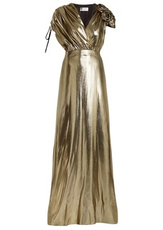 Lanvin Flower-embellished V-neck silk-blend gown