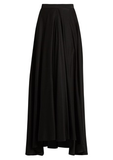 Lanvin Fluted-front silk crepe de Chine skirt