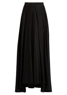 Lanvin Fluted-front silk crepe de Chine skirt