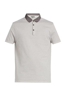 Lanvin Grosgrain-collar cotton piqué polo shirt