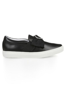 Lanvin Heart crystal-embellished leather trainers