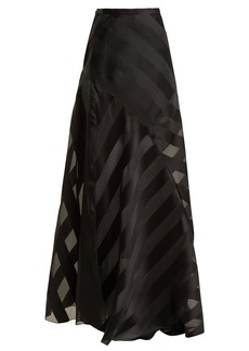 Lanvin High-rise chevron-striped silk-blend skirt