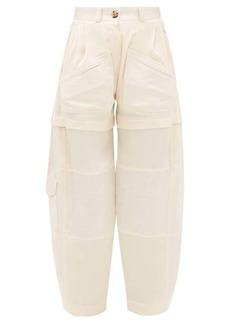 Lanvin High-rise patch-pocket silk cargo trousers