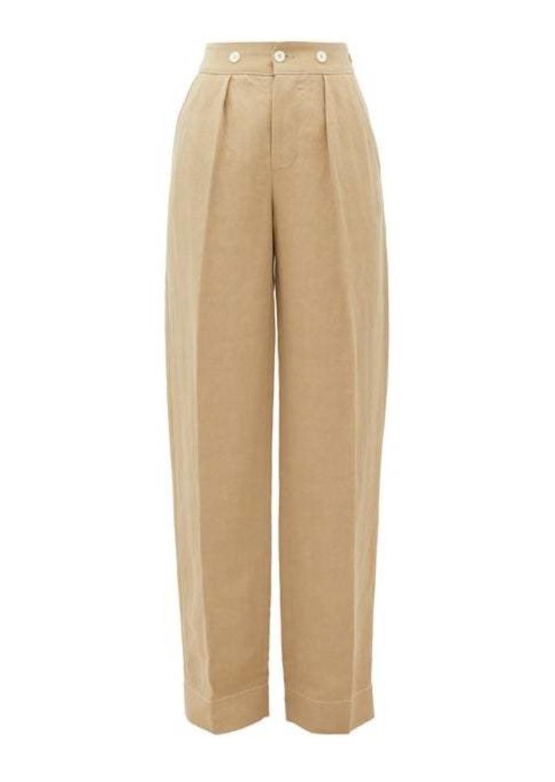 Lanvin High-rise wide-leg slubbed-canvas trousers