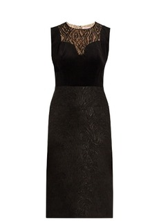 Lanvin Lace-panelled velvet dress