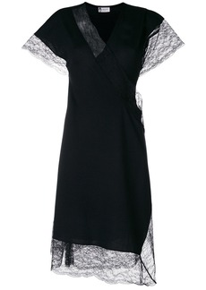 Lanvin lace trim wrap dress - Black