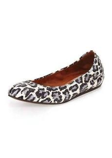 Lanvin Leopard-Print Watersnake Ballerina Flat