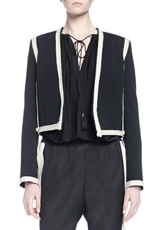 Lanvin Long-Sleeve Two-Tone Cropped Jacket