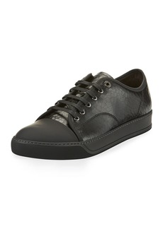 Lanvin Men's Cap-Toe Crackle Leather Low-Top Sneaker