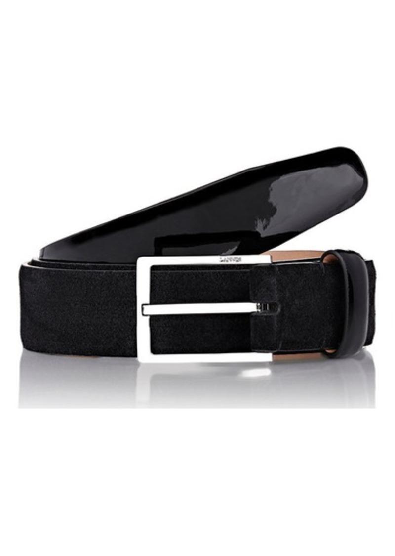 Lanvin Men's Suede Belt-BLACK Size 40