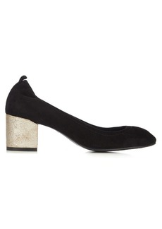 Lanvin Metallic block-heel suede pumps