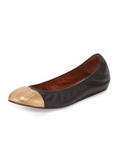 Lanvin Metallic Cap-Toe Ballerina Flat