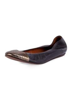 Lanvin Metallic Cap-Toe Ballet Flat