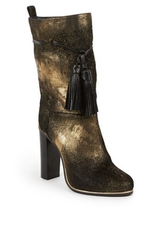 Lanvin Metallic Foil Calf Hair & Leather Tassel Detail Mid-Calf Boots