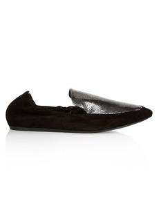 Lanvin Metallic-leather and suede loafers