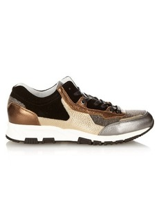 Lanvin Metallic leather and suede trainers